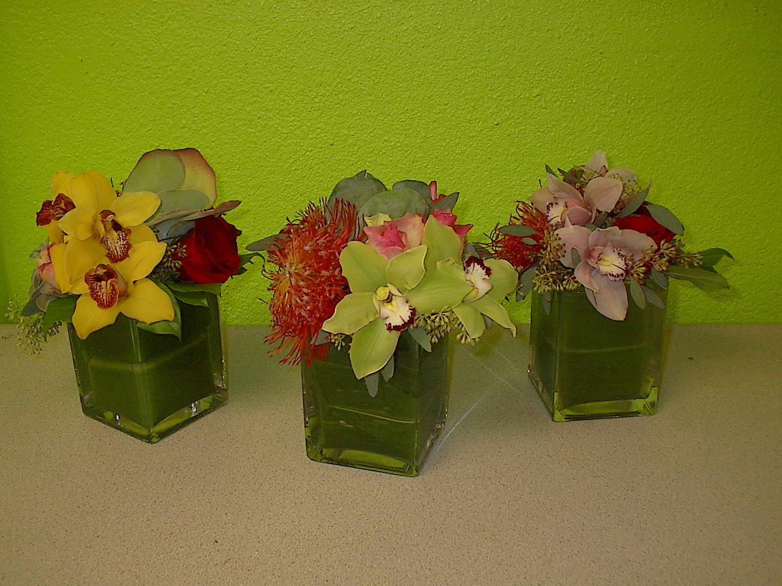 Modern flower cubes for event in Las Vegas