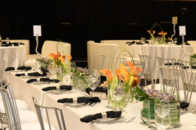 Flowers are calla liles for centerpieces at event in Las Vegas